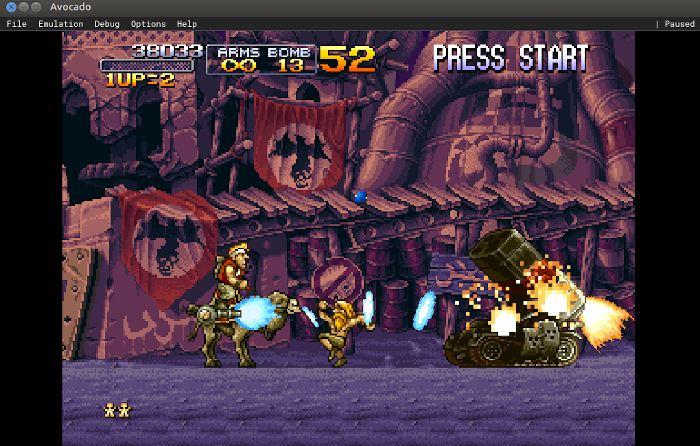Avocado PS1 emulator running Metal Slug.