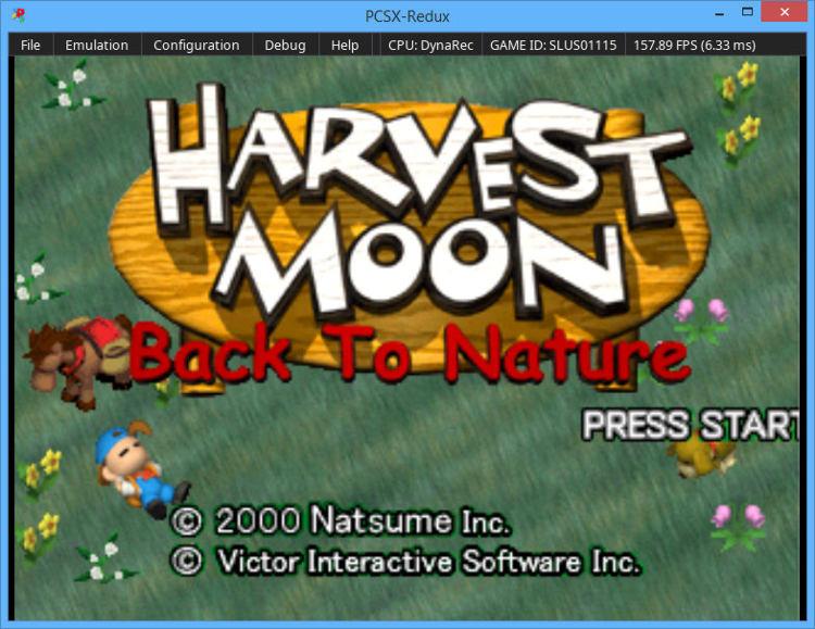 PCSX-Redux running Harvest Moon