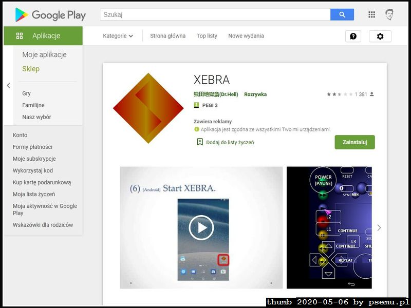 Xebra w GooglePlay