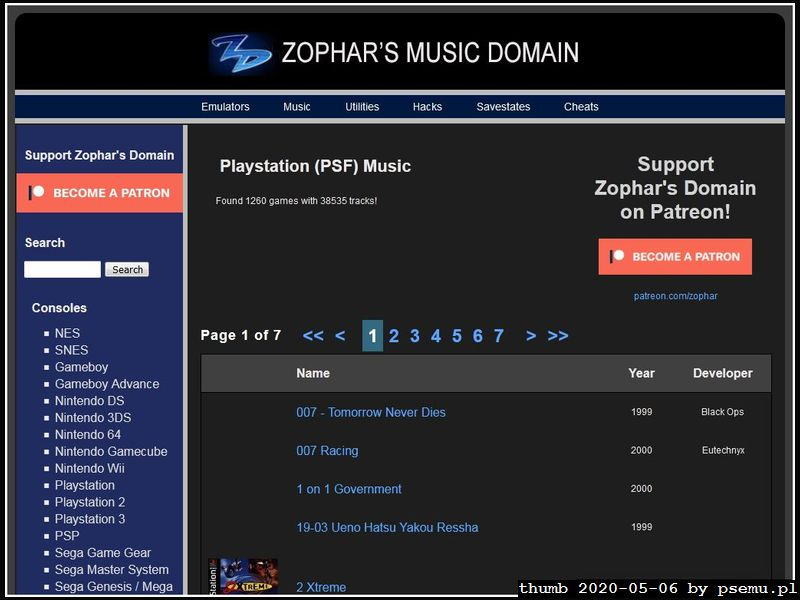 Zophar PS1 music