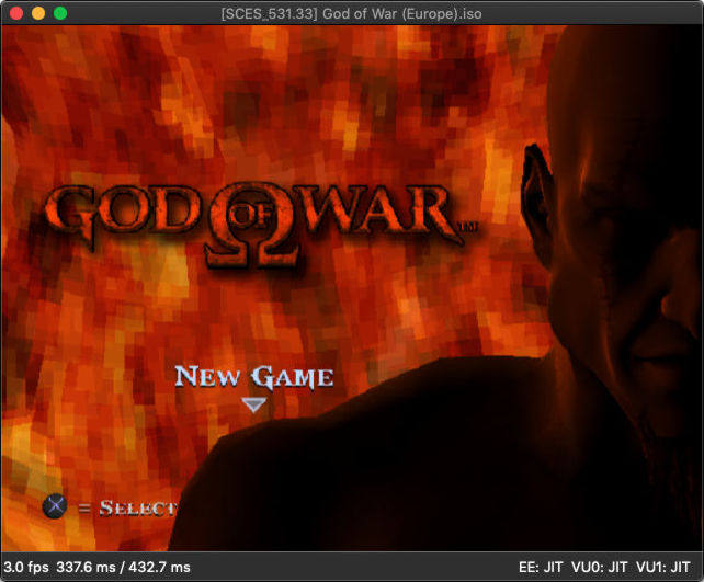 MacOS running God of War on DobieStation PS2 emulator