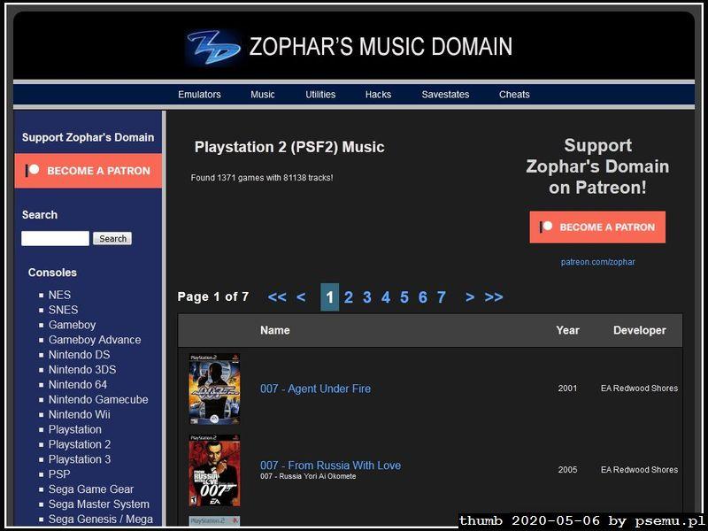 Zophar PS2 music