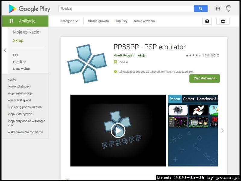 PPSSPP w GooglePlay